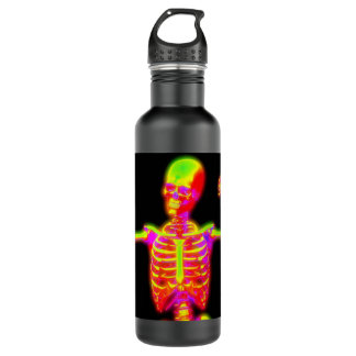 Yellow and pink bones water bottle