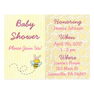Yellow and Pink Bumblebee Baby Shower Invitation Postcard