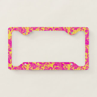 Yellow and  Pink Floral Swirls Damasks License Plate Frame