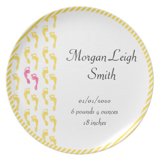 Yellow and Pink Footprints Baby Plate