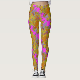 Yellow and Pink Geometric Shapes Leggings