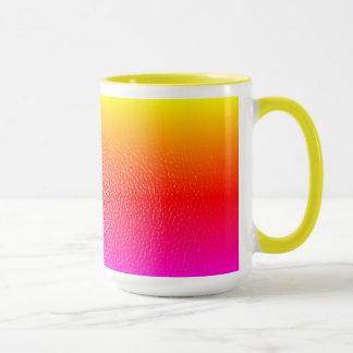yellow and pink leather print mug