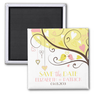 Yellow and Pink Love Birds Save the Date Magnet
