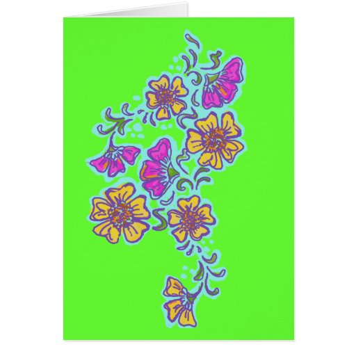 Yellow and Pink Mehndi Flowers Greeting Cards