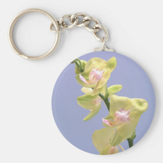 Yellow and Pink Orchids on Lavender Basic Round Button Keychain