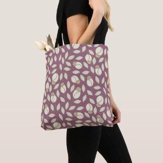 Yellow And Pink Plum Rosebud Pattern Tote Bag