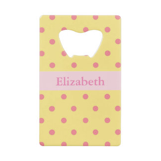 Yellow and Pink Polka Dots Credit Card Bottle Opener