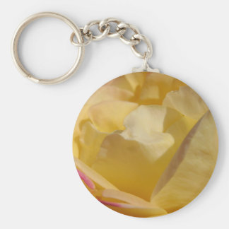 Yellow and Pink Rose Basic Round Button Keychain