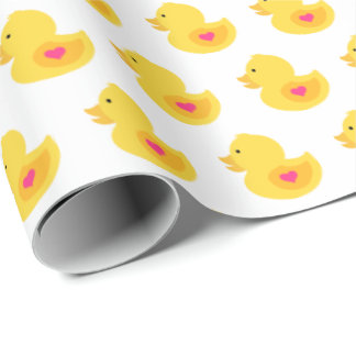 Yellow and Pink Rubber Ducky Wrapping Paper