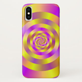 Yellow and Pink Spiral Rings iPhone X Case