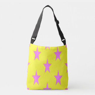 YELLOW AND PINK STARS All-Over-Print Cross BodyBag Crossbody Bag