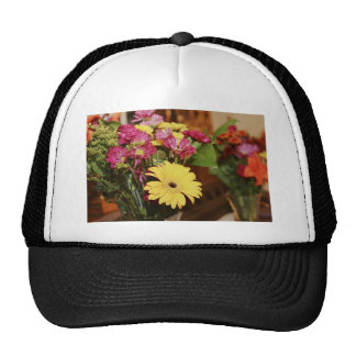 Yellow and Purple and Orange Flowers Bouquet Hat