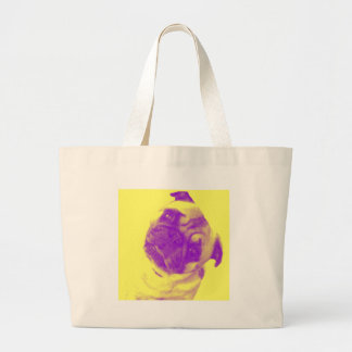 Yellow and purple artist-inspired pug print large tote bag