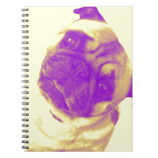 Yellow and purple artist-inspired pug print notebook