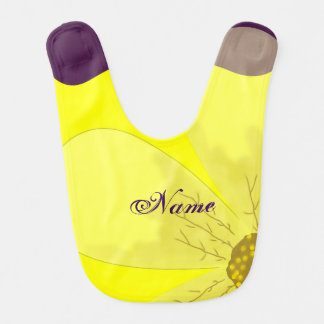 Yellow and purple flower bib