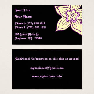 Yellow and Purple Flower on Black Business Card