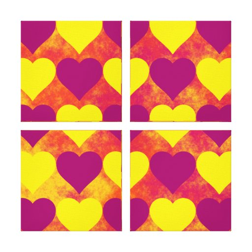 Yellow and Purple Hearts on Orange Fog Background Gallery Wrapped Canvas