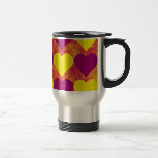 Yellow and Purple Hearts on Orange Fog Background Coffee Mugs