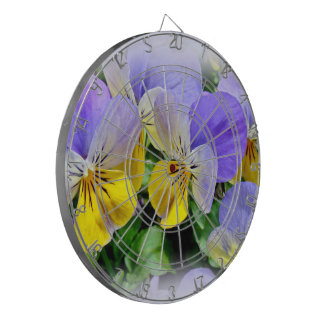 Yellow and Purple Pansies Dartboard