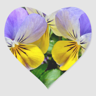 Yellow and Purple Pansies Heart Sticker