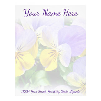 Yellow and Purple Pansies Letterhead