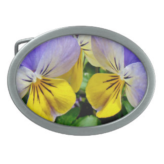 Yellow and Purple Pansies Oval Belt Buckles