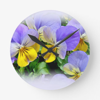 Yellow and Purple Pansies Round Clock