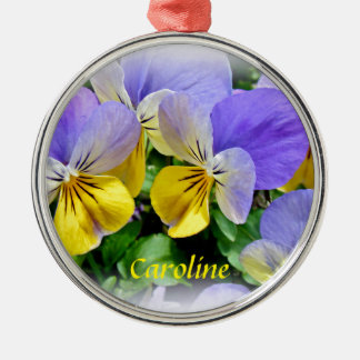Yellow and Purple Pansies Silver-Colored Round Ornament
