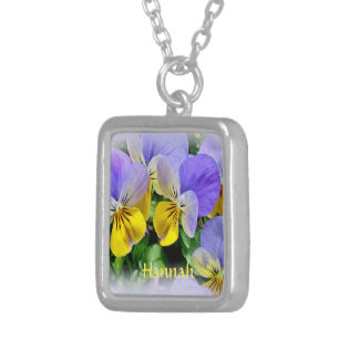 Yellow and Purple Pansies Silver Plated Necklace