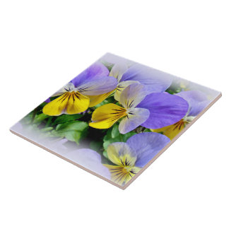 Yellow and Purple Pansies Tile