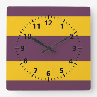 Yellow And Purple Sripes Square Wall Clock