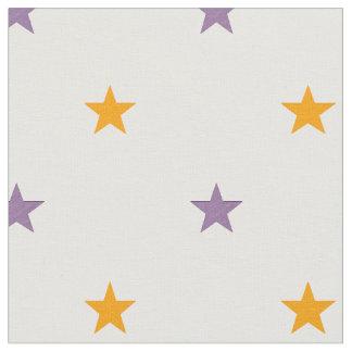 Yellow and purple stars fabric