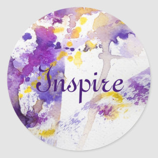 yellow and purple watercolor background round sticker