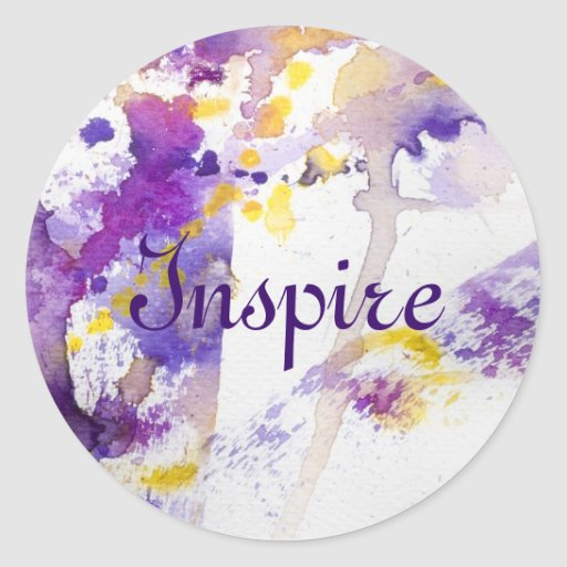 yellow and purple watercolor background round stickers
