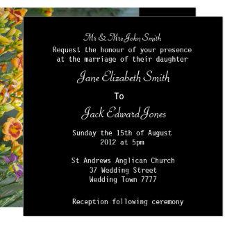 Yellow and Purple Wedding Flowers Card