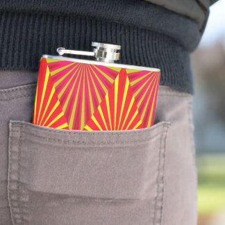 Yellow and red abstract design hip flask