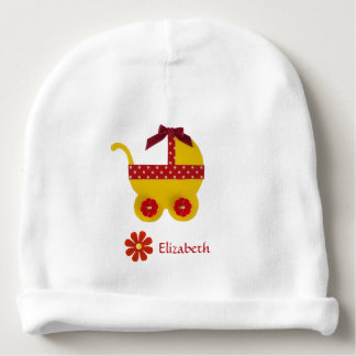 Yellow and red baby carriage for baby girl shower baby beanie