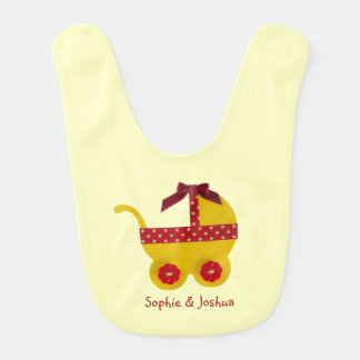 Yellow and red baby carriage for baby girl shower bibs