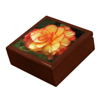 Yellow and Red Begonia Floral Keepsake Boxes