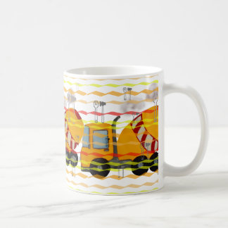 Yellow and red concrete mixer coffee mug