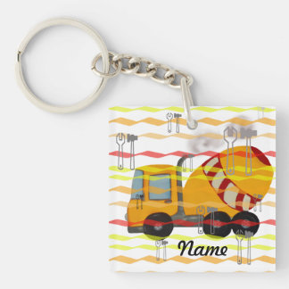 Yellow and red concrete mixer Double-Sided square acrylic keychain