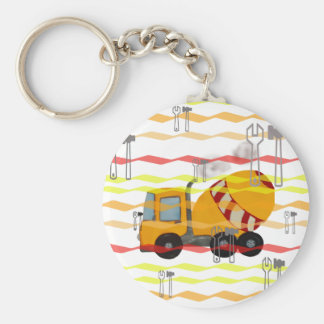 Yellow and red concrete mixer basic round button keychain