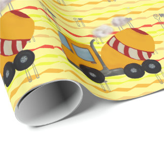 Yellow and red concrete mixer wrapping paper