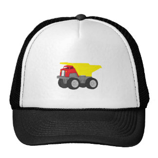 Yellow and Red Dump Truck Construction Vehicle Hat