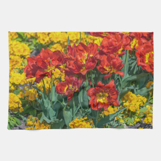 Yellow and red flowers kitchen towel