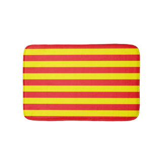 Yellow and Red Horizontal Stripes Bath Mat