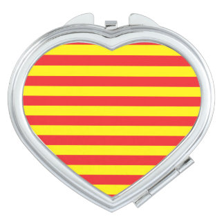 Yellow and Red Horizontal Stripes Makeup Mirror