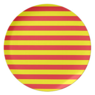 Yellow and Red Horizontal Stripes Plates