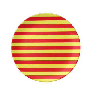 Yellow and Red Horizontal Stripes Porcelain Plate