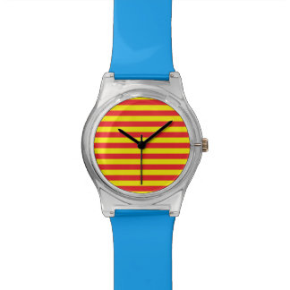 Yellow and Red Horizontal Stripes Watches